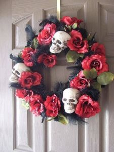 Red Rose and Skull Wreath
