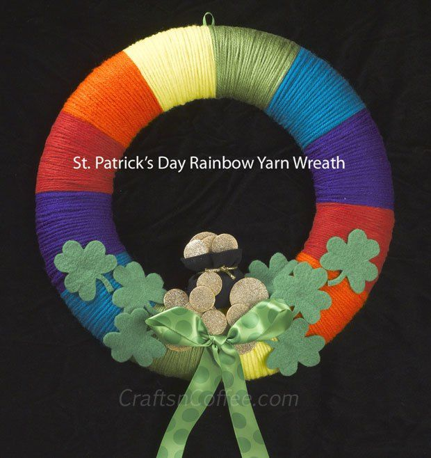 St Pats Day Rainbow Wreath