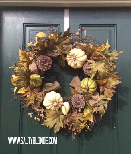 Simple Fall Wreath on Door